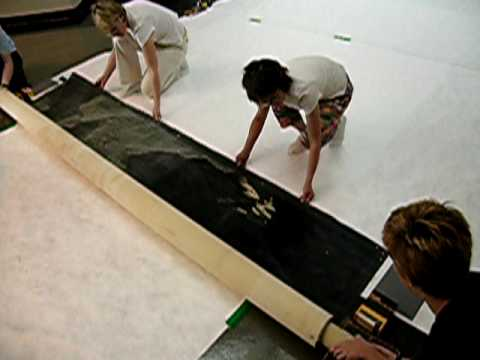 "Unrolling The Mural for Conservation Assessment - ""A Lunar Landscape"" Bonestall Mural"