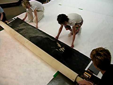"Unrolling The Mural for Conservation Assessment - ""A Lunar Landscape"" Bonestall Mural"