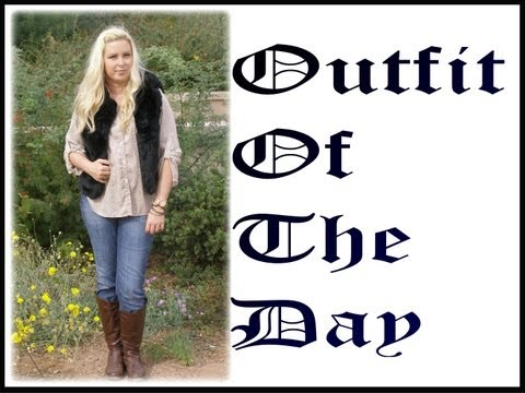 OOTD Outfit Of The Day - Thriftshop Shirt & Faux Fur Vest