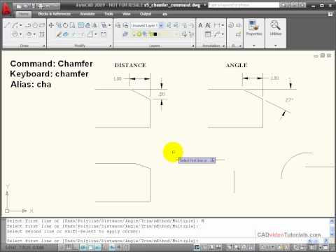 AutoCAD Tutorial - Using the CHAMFER Command