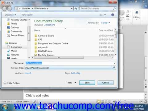 PowerPoint 2010 Tutorial Working with PowerPoint File Formats Microsoft Training Lesson 2.11