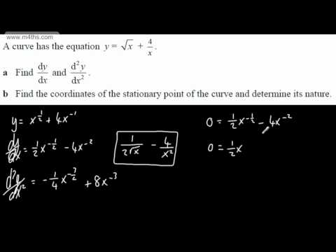 (4) Core 2 Differentiation - Harder stationary points (maximum minimum and point of inflexion)