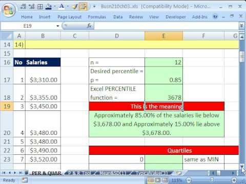 Excel Statistics 37: PERCENTILE & QUARTILE