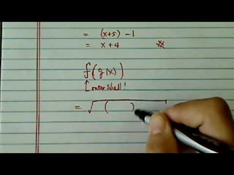 Composite Function g(f(x)): given f(x)= squareroot(x +5) and g(x) = x(squared) - 1