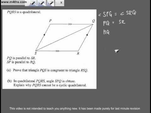 (Q256) A Star GCSE Revision Questions Congruent Triangles and Circle Theorem
