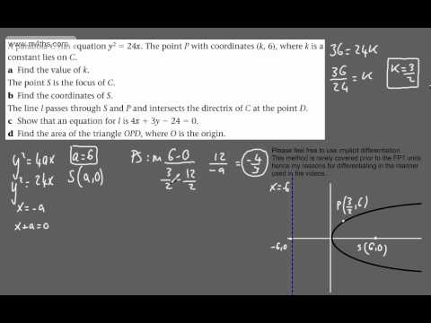(28) FP1 - The Parabola (Harder triangle area on focus and directrix)