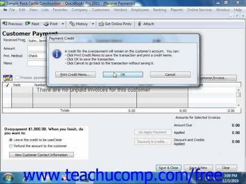 QuickBooks 2011 Tutorial Entering Down Payments or Prepayments Intuit Training Lesson 10.5
