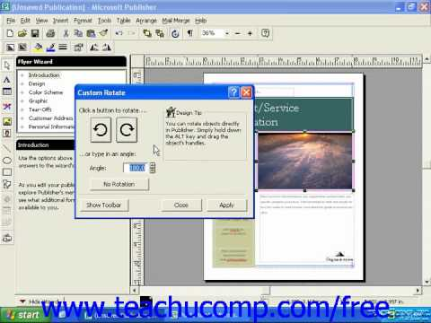 Publisher 2003 Tutorial Rotating and Flipping Objects 2000 Microsoft Training Lesson 3.8