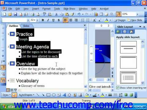 PowerPoint 2003 Tutorial Creating Summary Slides Microsoft Training Lesson 21.5