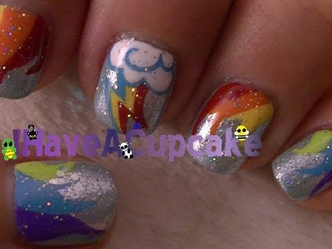 Rainbow Dash Inspired Nail Art
