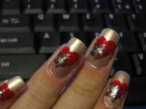 Valentine`s day nails: a heart with a flower