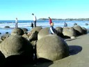New Zealand beach with spherical boulders