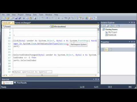 Visual Basic Tutorial - 72 - GetValues Of Enumerations