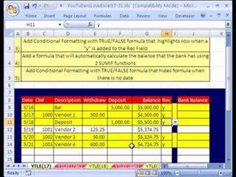 YouTubersLoveExcel#17: Hide Bank Rec Formula