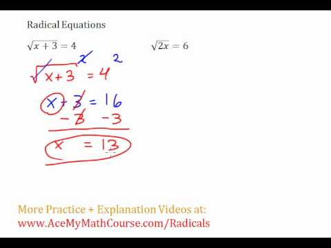 Radical Equations #1-2