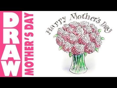 How to draw a vase of flowers for mothers day