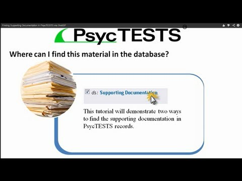 Finding Supporting Documentation in PsycTESTS via OvidSP