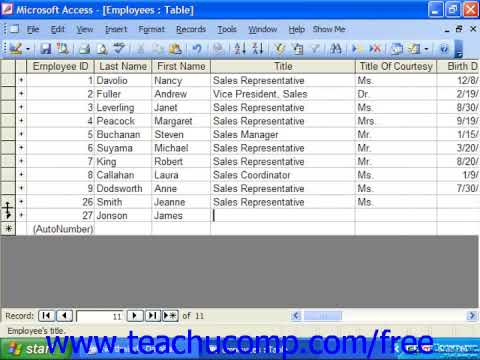 Access 2003 Tutorial Editing and Deleting Records in Datasheet View Microsoft Training Lesson 3.4