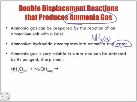 Reactions of Aqueous Solutions Forming Ammonia Gas