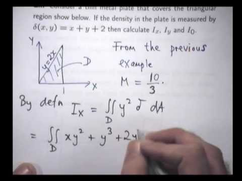 Moments of inertia example: double integrals