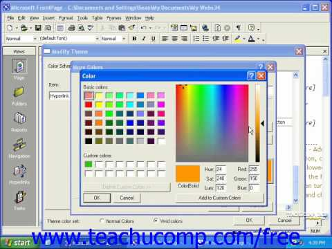 FrontPage Tutorial Modifying Themes Microsoft Training Lesson 5.2