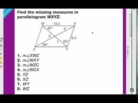 Viewer Challenge: Parallelogram Angles & Diagonals