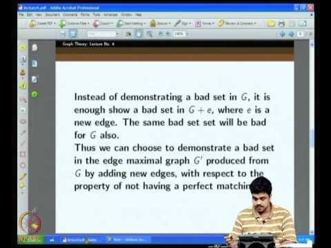 Mod-01 Lec-04 Tutte's theorem on existence of a perfect matching