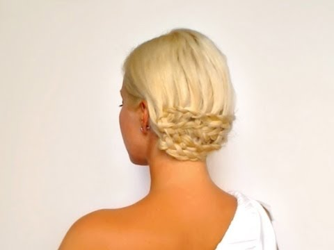 Dutch braided prom hairstyle Wedding updo for medium long hair Greek goddess