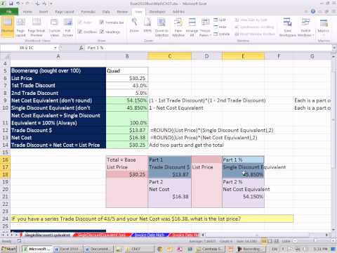 Excel 2010 Business Math 62: Single Cost Equivalent & Solving For List Price