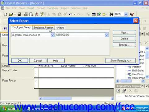 Crystal Reports Tutorial Setting Multiple Filters Business Objects Training Lesson 6.2
