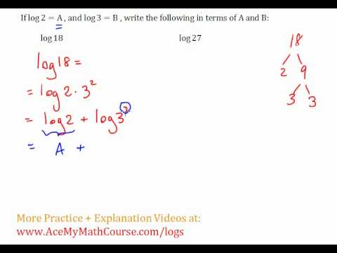 Logarithms - Writing in Terms Questions #3-4