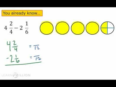 Subtract mixed numbers by converting them into improper fractions - 5.NF.1