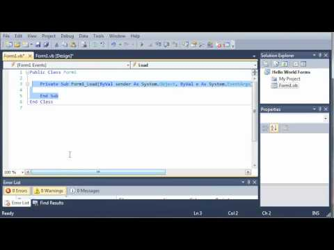 Visual Basic Tutorial - 36 - Introduction To Windows Forms