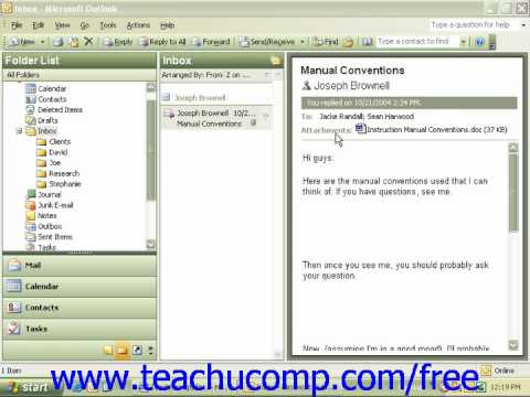 Windows XP Tutorial E mail Microsoft Training Lesson 7.9