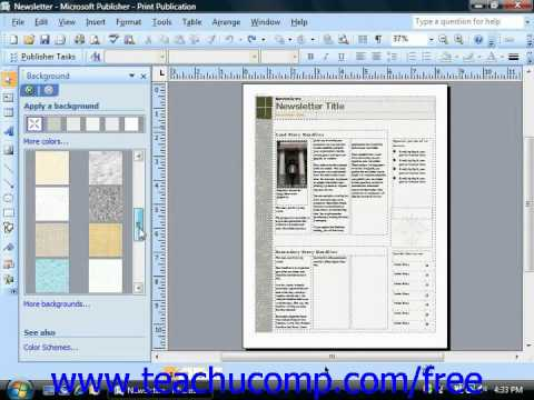 Publisher 2003 Tutorial Applying Backgrounds 2007 Microsoft Training Lesson 9.1