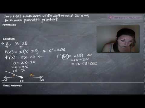 Applied Optimization - Two real numbers with difference 20 and minimum possible product