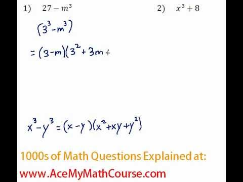 Polynomials - Factoring Two Cubes Question #1