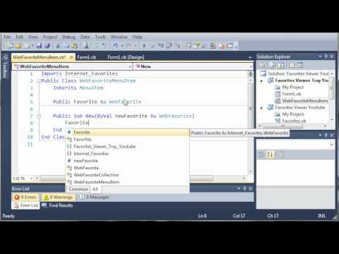 Visual Basic Tutorial - 197 - Favorites Tray Part 2   Creating The MenuItem Classes