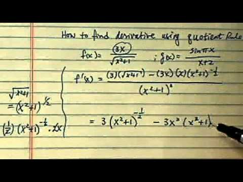 how to find derivative using quotient rule??