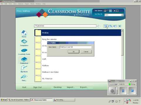 Creating a Folder in the Published Activity Area