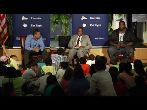 Let's Read, Let's Move: Congressman Langevin, Kareem Dale, and Quinton Aaron