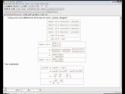 sum and difference for trig functions: basic examples
