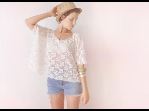 2 minutes lace box top DIY tee-shirt - FASHION DIY VIDEO TUTORIAL