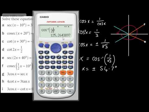 (4) Core 3 Trig - reciprocal trig functions - basic equations