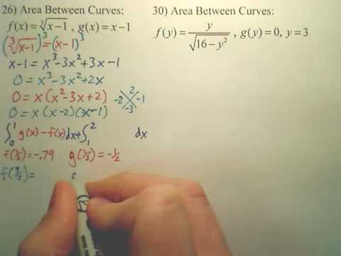 7.1 Area Between Curves Practice - Calculus