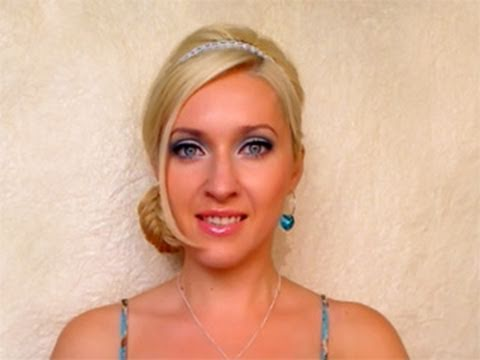 Holiday braided updo hairstyle for long hair tutorial Side bun for New Years eve Chrsitmas 2012