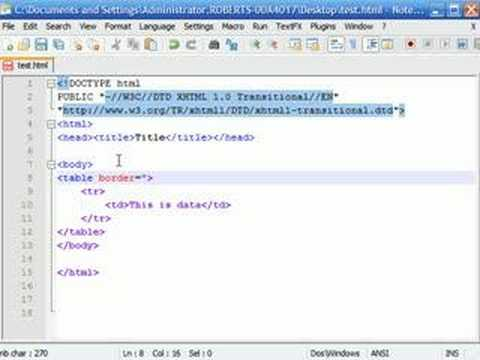 XHTML Tutorial - 9 - Intro to Tables