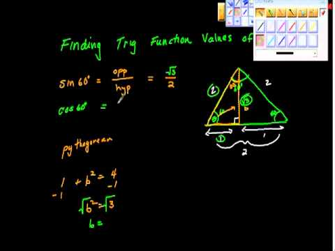 Finding Trig function values of 30, 60 and 45 degrees