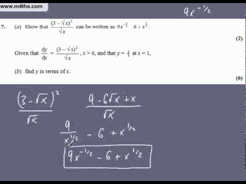 (Q7) Core 1 2005 Edexcel very quick answers