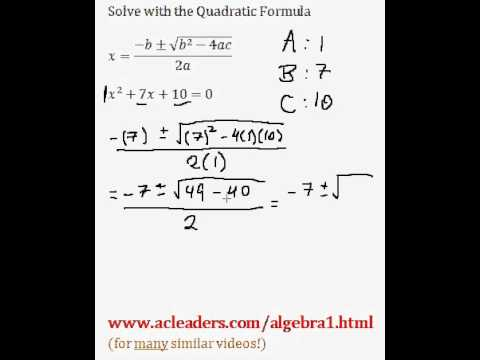 Quadratic Formula - Solving for 'x' in a trinomial expression. EASY!!! (pt. 1)